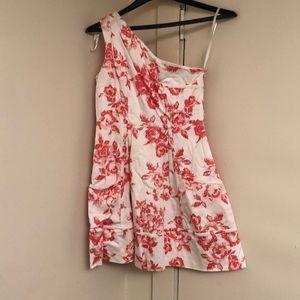 One shoulder floral dress.